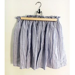 Zara Blue &White Vertical Stripe Aline mini skirt